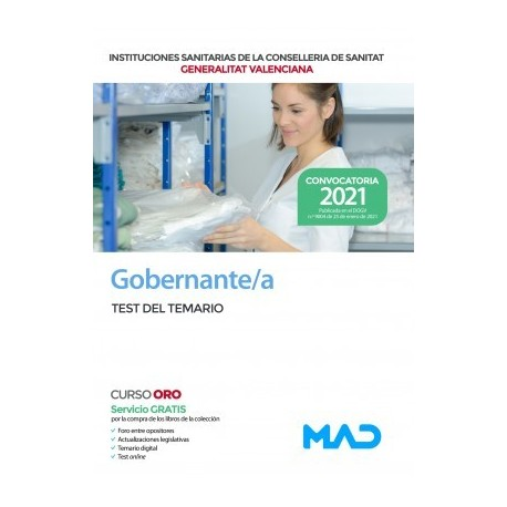 GOBERNANTE/A DE LAS INSTITUCIONES SANITARIAS DE LA CONSELLERIA DE SANITAT GENERALITAT VALENCIANA TEST TEMARIO PARTE ESPECIFICA