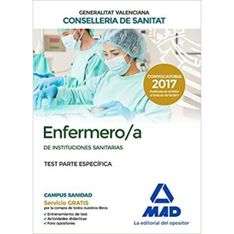 ENFERMERO/A INSTITUCIONES SANITARIAS CONSELLERIA SANITAT COMUNIDAD VALENCIANA. TEST PARTE ESPECIFICA
